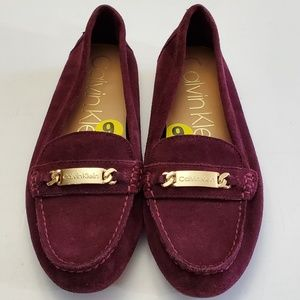 Calvin Klein lunasi suede leather loafers
